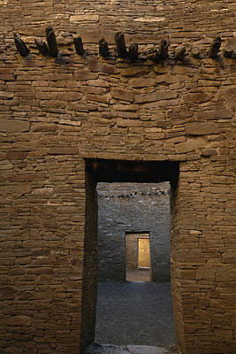 Chaco Canyon Photograph - A Doorway And Walls Inside Pueblo by Bill Hatcher
