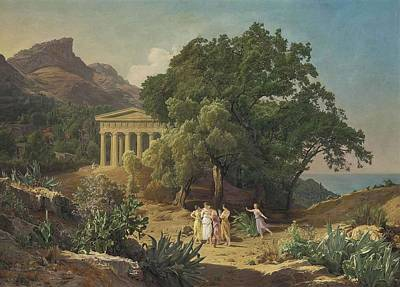 Sicily Painting - A Doric Temple In Sicily With Castelmola by Georg Waldmuller