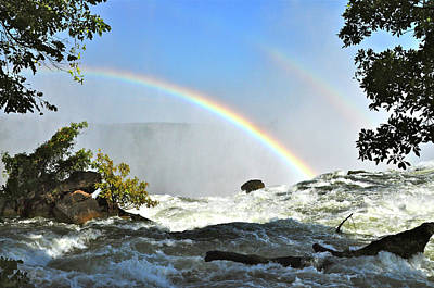 Photograph - A Double Rainbow Over Victoria Falls by Don Mercer