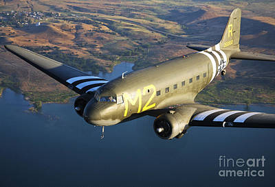 Photograph - A Douglas C-53 Skytrooper In Flight by Scott Germain