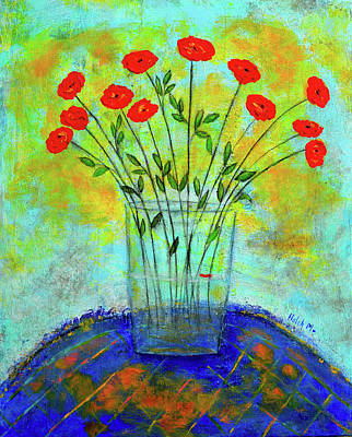 Painting - A Dozen Of Red Roses For You by Haleh Mahbod