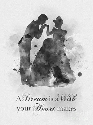 Watercolour Mixed Media - A Dream Is A Wish Your Heart Makes Black And White by Rebecca Jenkins