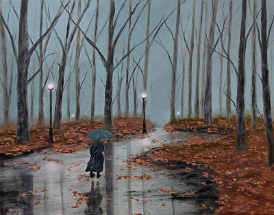 Winter Painting - A Dreary Autumn Evening by Ken Figurski