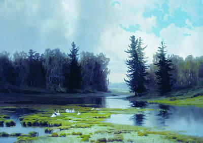 Geese Mixed Media - A Dreary Day At The Pond by Georgiana Romanovna