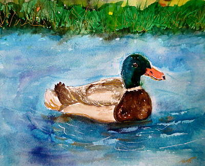 Ducks In Watercolor Painting - A Duck by M L Borges