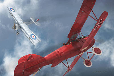 Digital Art - A Duel Begins - The Red Baron by David Collins