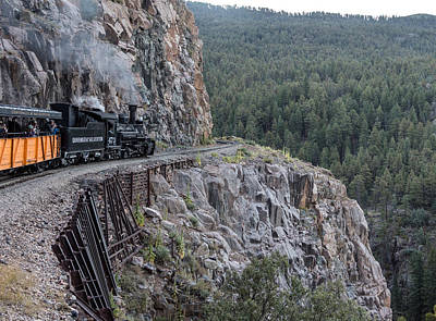 Photograph - A Durango And Silverton Narrow Gauge Scenic Railroad Train Along A San Juan Mountains Precipice by Carol M Highsmith