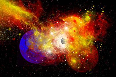 Planetary System Digital Art - A Dying Star Turns Nova As It Blows by Mark Stevenson