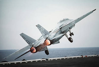 Airplane Engine Photograph - A F-14a Tomcat Aircraft Is Launched by Stocktrek Images