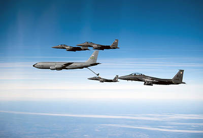 A F-15e Strike Eagle Is Refueled Print by Stocktrek Images
