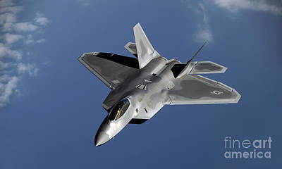 Pineapple - A F-22 Raptor Returns To A Mission by Stocktrek Images