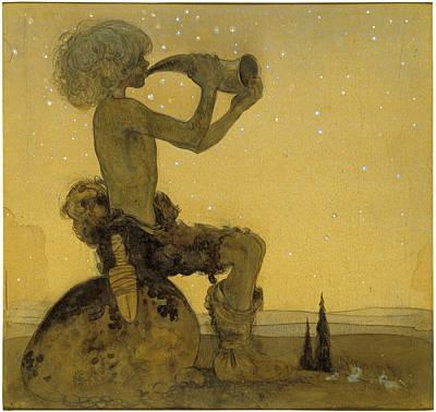 John Bauer Drawing - A Fairy Shepherd by John Bauer