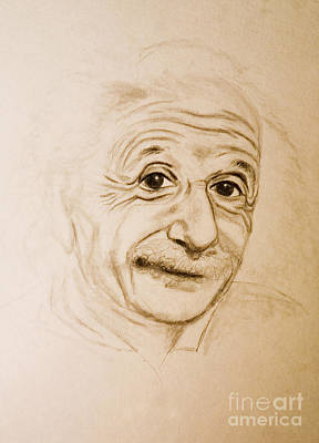 Einstein Drawing - A Familiar Face by Angelique Bowman