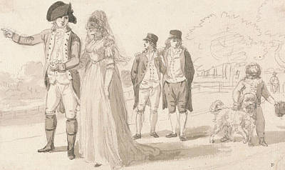 Family Art Drawing - A Family In Hyde Park by Paul Sandby