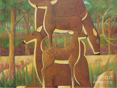 Painting - A Family Of Deer by Glenn Quist