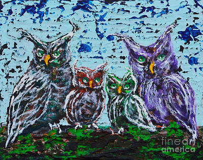 Painting - A Family Of Owls by Alys Caviness-Gober