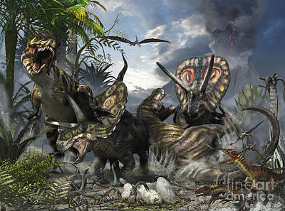 A Family Of Torosaurus Protecting Art Print