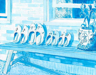 Blauw Painting - A Family Of Wooden Shoes  by Vic Delnore