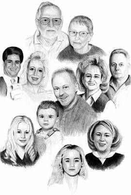 Drawing - A Family Portrait -  Commissioned Piece by Joseph Ogle