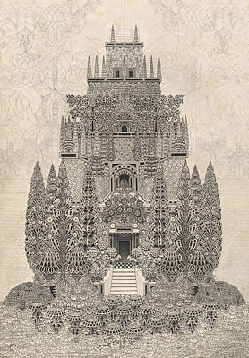 20th Drawing - A Fantastic Tiered Structure by Herbert Crowley