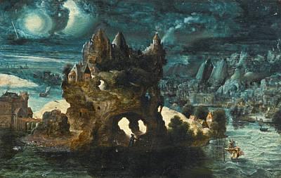 Saint Christopher Painting - A Fantastical Moonlit Landscape With Saint Christopher Carrying The Christ Child Across A River by Herri met de Bles