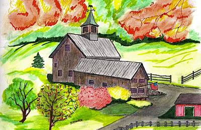 Drawing - A Farm House by Paul Meinerth