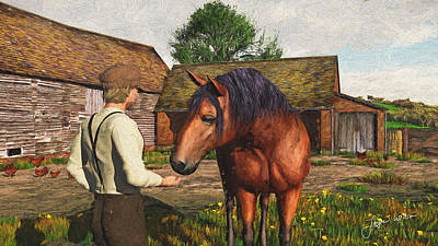Art Print featuring the digital art A Farmer And His Horse by Jayne Wilson