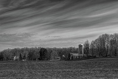 Photograph - A Farmer's Backyard In Spring Black And White by Dale Kauzlaric