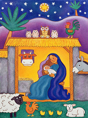 A Farmyard Nativity Print by Cathy Baxter
