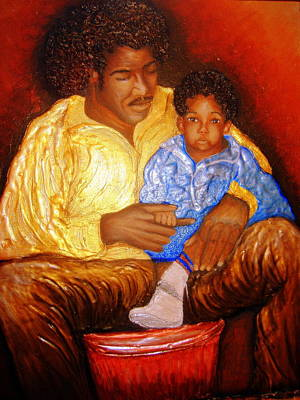 Keenya Woods Painting - A Fathers Love by Keenya  Woods