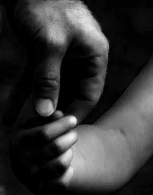 Photograph - A Fathers Touch Bw by Lesa Fine