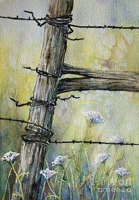 Painting - A Fence And Wild Flowers by Rebecca Davis