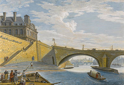 Drawing - A Ferry On The Seine Below The Pont Royal. Paris by Jean-Baptiste Lallemand