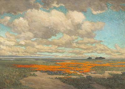 A Field Of California Poppies Art Print by Granville Redmond