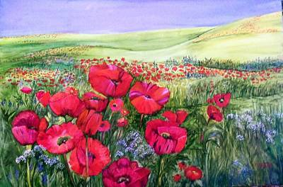 Painting - A Field Of Poppies by Marsha Woods