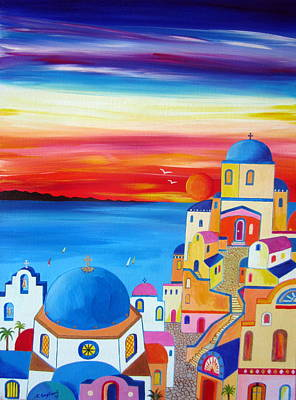 Painting - A Fiery Sunset In Santorini by Roberto Gagliardi