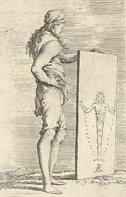 Relief - A Figure Supporting A Tablet With A Representation Of A Herm Of Diana Of Ephesus by Salvator Rosa