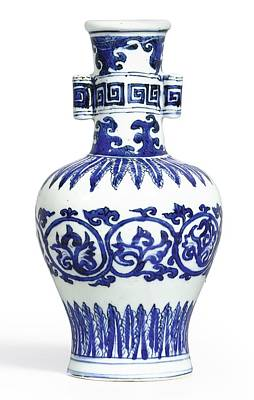 Blue Painting - A Fine And Rare Blue And White 'arrow' Vase Mark And Period Of Wanli by Celestial Images