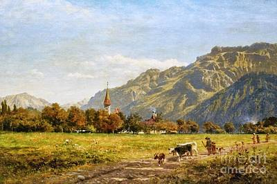 A Dog A Day Painting - A Fine Autumn Day At Interlaken by MotionAge Designs