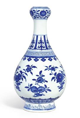 Teapot Painting - A Fine Blue And White 'sanduo' Garlic-mouth Bottle Vase Seal Mark And Period Of Daoguang by Celestial Images
