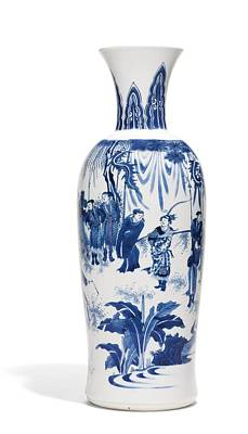 A Fine Blue And White Vase Ming Dynasty, Chongzhen Period Art Print