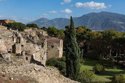 Photograph - A Fine Italian Afternoon - Ancient Pompeii Ruins From A Verdant Park by Georgia Mizuleva