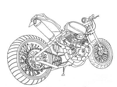 custom motorcycle drawings fine art america Sport Bike custom motorcycle drawing a fine line in motorcycles by stephen brooks