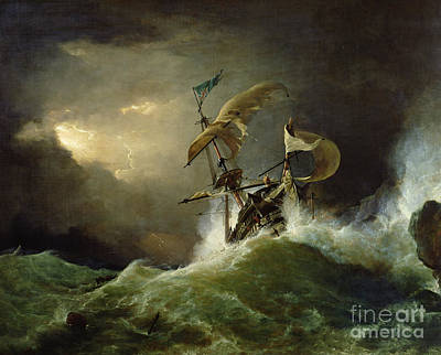 Ship Wreck Painting - A First Rate Man Of War Driven Onto A Reef Of Rocks, Floundering In A Gale  by George Philip Reinagle