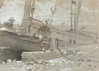 Winslow Homer Drawing - A Fish Story by Winslow Homer