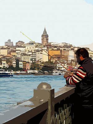 Digital Art - A Fisherman In Istanbul by Helissa Grundemann