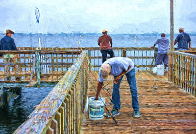 Photograph - A Fishing Day On The Pier by Lewis Mann