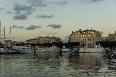 Photograph - A Fishing Port Surrounded By Palaces - Reflecting On Syracuse Sicily by Georgia Mizuleva