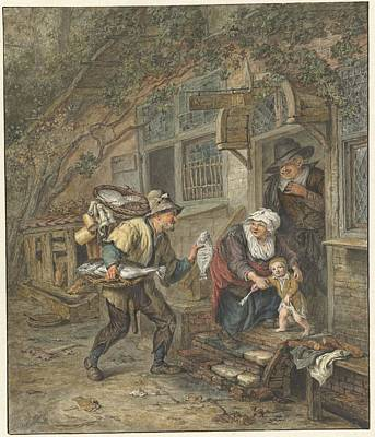 Abstract Painting - A Fishmonger Offers Plaice To A Schoolmaster And His Family, Abraham Van Strij , After Cornelis D by Celestial Images