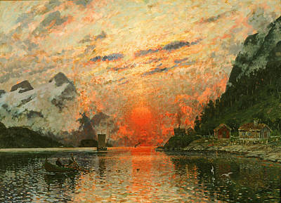 Sundown Painting - A Fjord by Adelsteen Normann